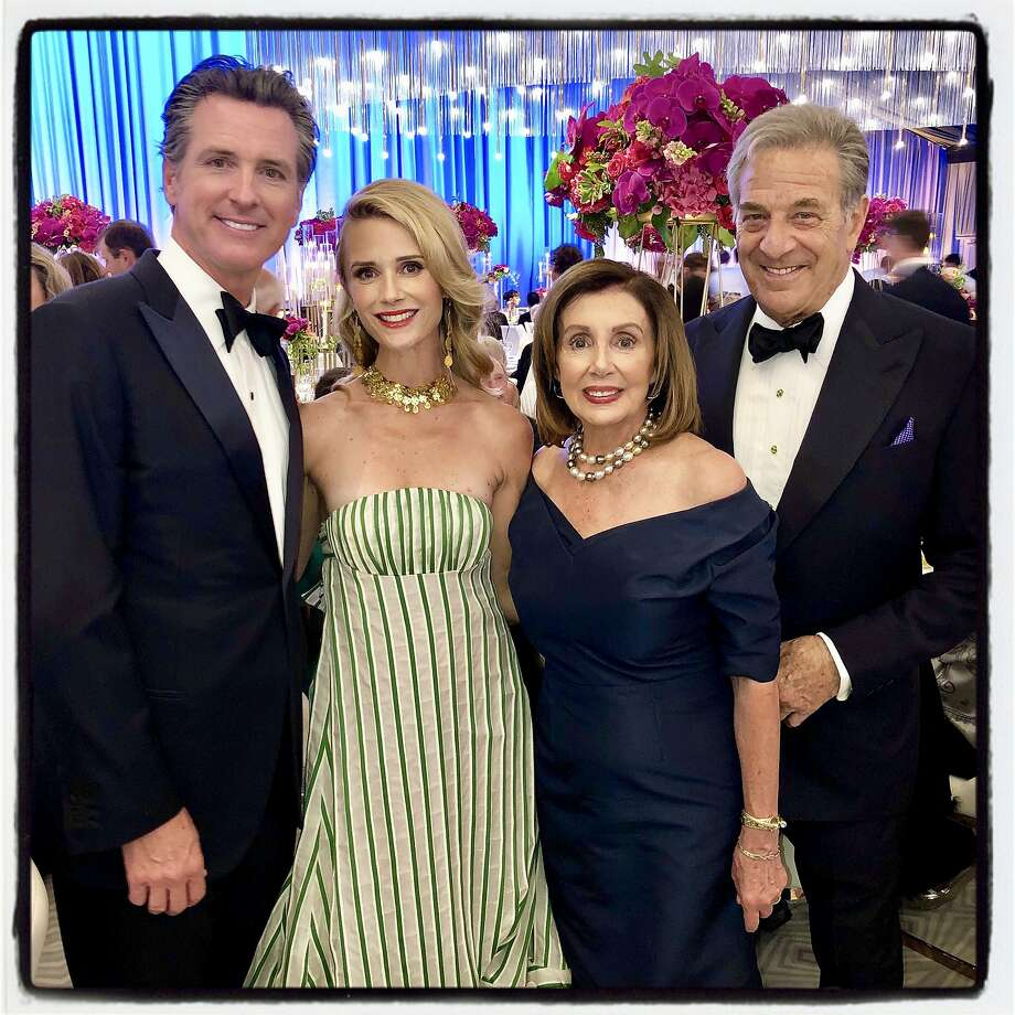Gov. Gavin Newsom (left) with first partner Jennifer Siebel Newsom, Speaker Nancy Pelosi and Paul Pelosi at the S.F. Symphony gala. Sept. 4, 2019. Photo: Catherine Bigelow / Special To The Chronicle