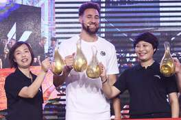 Klay Thompson of the Golden State Warriors meets fans during an Anta promotional event on September 8, 2019 in Nanjing, Jiangsu Province of China.