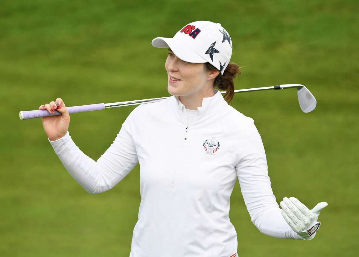 AUCHTERARDER, SCOTLAND - SEPTEMBER 09: Brittany Altomare of Team USA during practice prior to the start of The Solheim Cup at Gleneagles on September 09, 2019 in Auchterarder, Scotland.