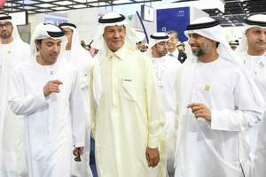 (L to R) United Arabe Emirates head of State for National Security Hazza bin Zayed al-Nahyan with Saudi Arabia's Energy Minister Prince Abdulaziz bin Salman and UAE's Minister of Energy Suhail al-Mazrouei. When OPEC meets later this week, the question is whether the cartel and its allies will cut production further.