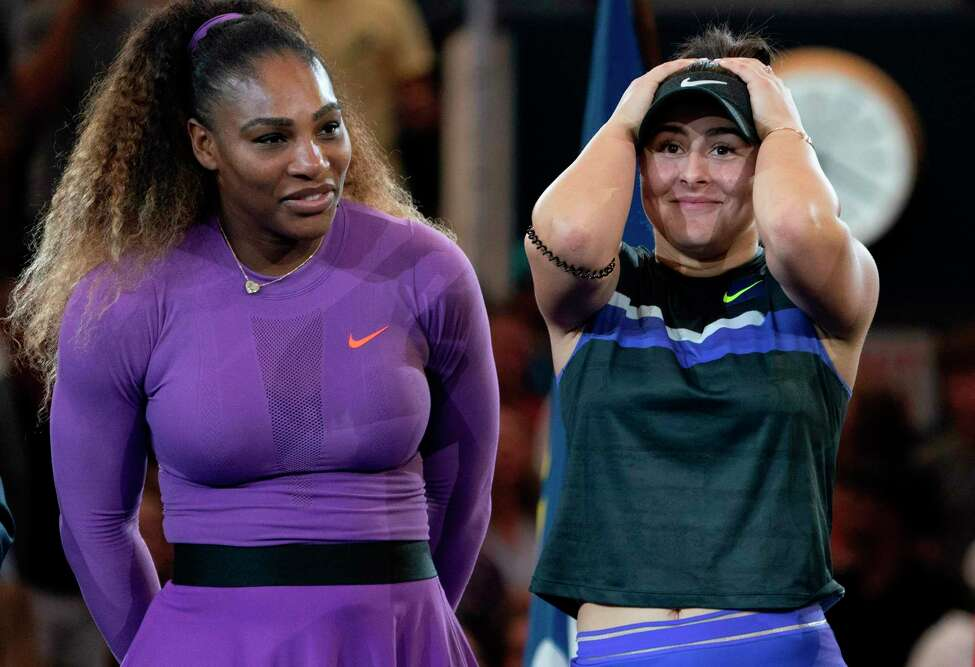 Bianca Andreescu of Canada and Serena Williams of the US react during the awards ceremony after their women's singles finals match at the 2019 US Open at the USTA Billie Jean King National Tennis Center September 7, 2019 in New York. (Photo by Don Emmert / Getty Images