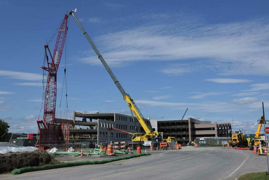 Construction continues on the new garage and walkway at the Albany International Airport on Monday, Sept. 9, 2019 in Colonie, N.Y. (Lori Van Buren/Times Union) Photo: Lori Van Buren