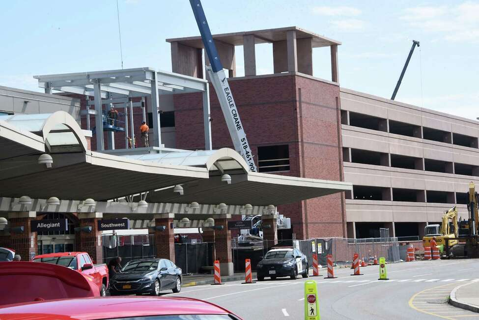 Construction continues on the new garage and walkway at the Albany International Airport on Monday, Sept. 9, 2019 in Colonie, N.Y. (Lori Van Buren/Times Union)