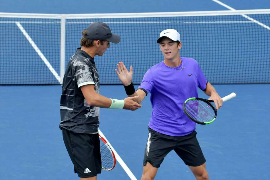 Eliot Spizzirri, left, a Greenwich resident, and Tyler Zink won the doubles title at the US Open Junior Championships on Saturday, Sept., 7, 2019, at the National Tennis Center in Flushing Meadows, N.Y. Photo: Photo Courtesy Of Pete Staples, USTA