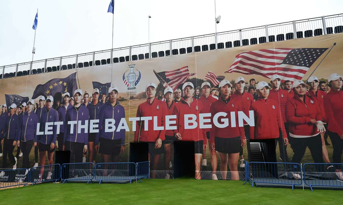 Signage is seen prior to the start of The Solheim Cup at Gleneagles on September 09, 2019 in Auchterarder, Scotland.