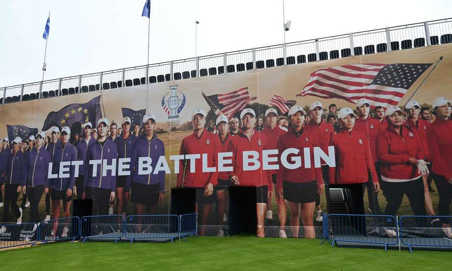 Signage is seen prior to the start of The Solheim Cup at Gleneagles on September 09, 2019 in Auchterarder, Scotland. Photo: Stuart Franklin, Getty / 2019 Getty Images