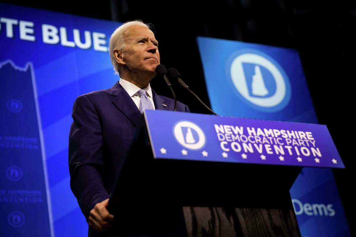 Former Vice President Joe Biden addresses the New Hampshire Democratic Party State Convention in Manchester, N.H., Saturday, Sept. 7, 2019. The gathering expected to see 19 presidential candidates, including former Vice President Joe Biden, who has led in most of the polls conducted here. (Elizabeth Frantz/The New York Times)