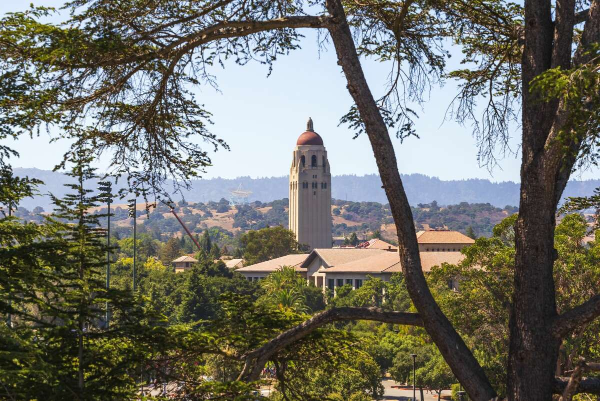 A general view of the Stanford University campus, including Hoover Tower, as seen from Stanford Stadium in 2019 in Palo Alto, Calif. Self-isolation and social distancing don't have to stand in the way of enjoying classes from America's top learning institutions.