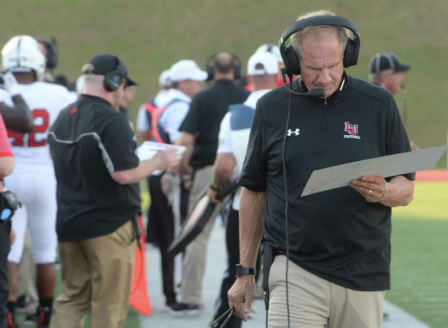 Lamar's coach Mike Schultz reviews plays from the sidelines as they face Mississippi Valley State during their game Saturday at Lamar. Photo taken Saturday, September 7, 2019 Kim Brent/The Enterprise Photo: Kim Brent / The Enterprise / BEN