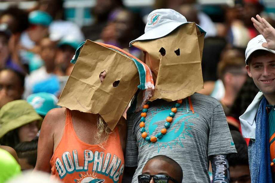 Dolphins fans were not happy with the season opener. Their team was blown out 59-10 by the visiting Ravens. Photo: Eric Espada / Getty Images