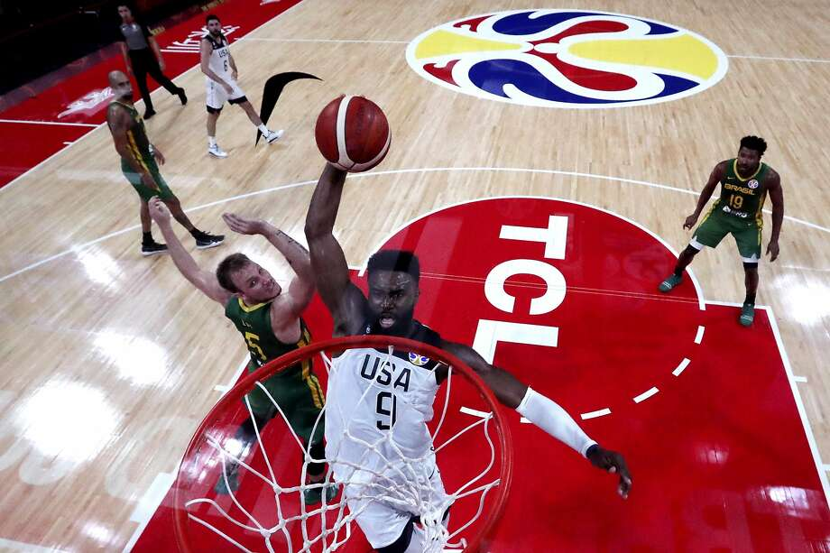 Jaylen Brown of the U.S., a member of the Celtics and a Cal product, dunks against Brazil during the World Cup. Photo: Getty Images