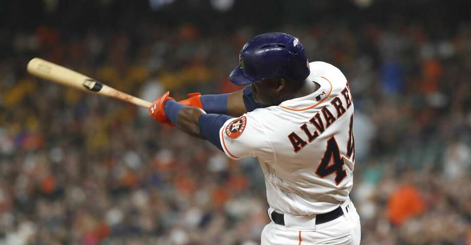 PHOTOS: Astros game-by-game Houston Astros designated hitter Yordan Alvarez (44) hits a solo home run during the first inning of an MLB baseball game at Minute Maid Park, Monday, Sept. 9, 2019, in Houston. With this home run, Alvarez breaks Carlos Correa's rookie home run record. Browse through the photos to see how the Astros have fared in each game this season. Photo: Karen Warren/Staff Photographer