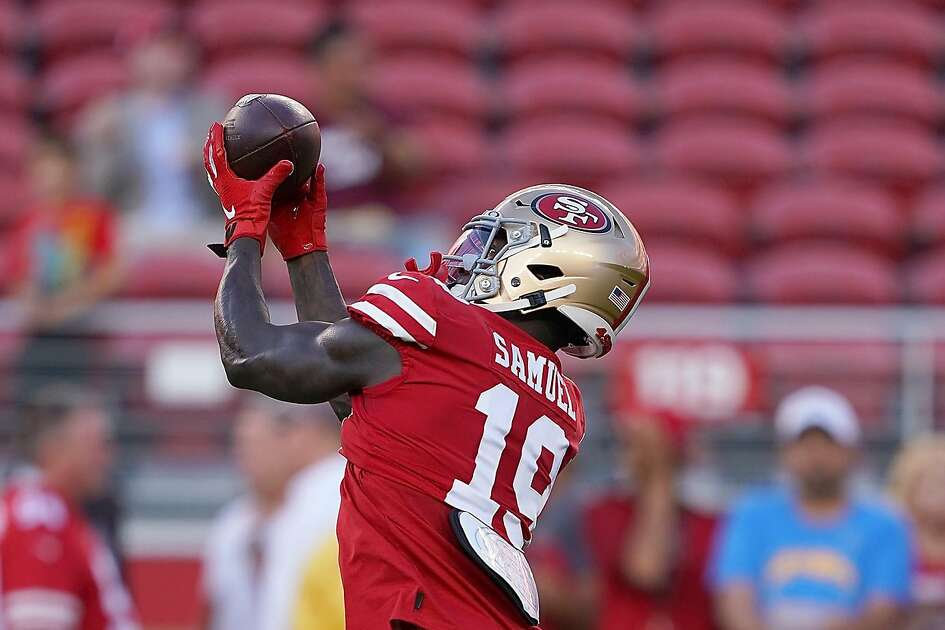SANTA CLARA, CA - AUGUST 29: Deebo Samuel #19 of the San Francisco 49ers warms up during pregame warm ups prior to the start of an NFL football game against the Los Angeles Chargers at Levi's Stadium on August 29, 2019 in Santa Clara, California. (Photo by Thearon W. Henderson/Getty Images)