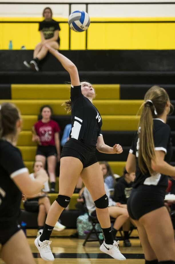 Bullock Creek's Janelle Coin spikes the ball during a match against Calvary Baptist Monday, Sept. 9, 2019 at Bullock Creek High School. (Katy Kildee/kkildee@mdn.net) Photo: (Katy Kildee/kkildee@mdn.net)