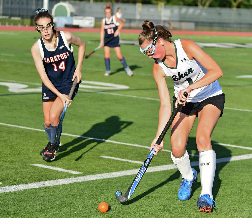 Saratoga's Hunter Yourch, left, defends Shenendehowa's Emily VanPelt during a field hockey game on Monday, Sept. 9, 2019 in Clifton Park, N.Y. (Lori Van Buren/Times Union)