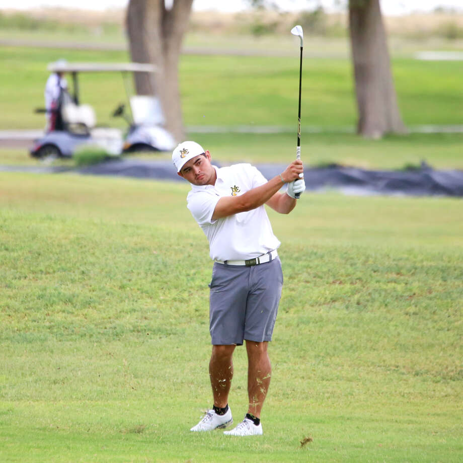Midland College freshman JT Pittman follows his shot during the Andrew College/AM Invitational over the weekend at Andrews County Golf Course. Photo: Forrest Allen,  MC Athletics