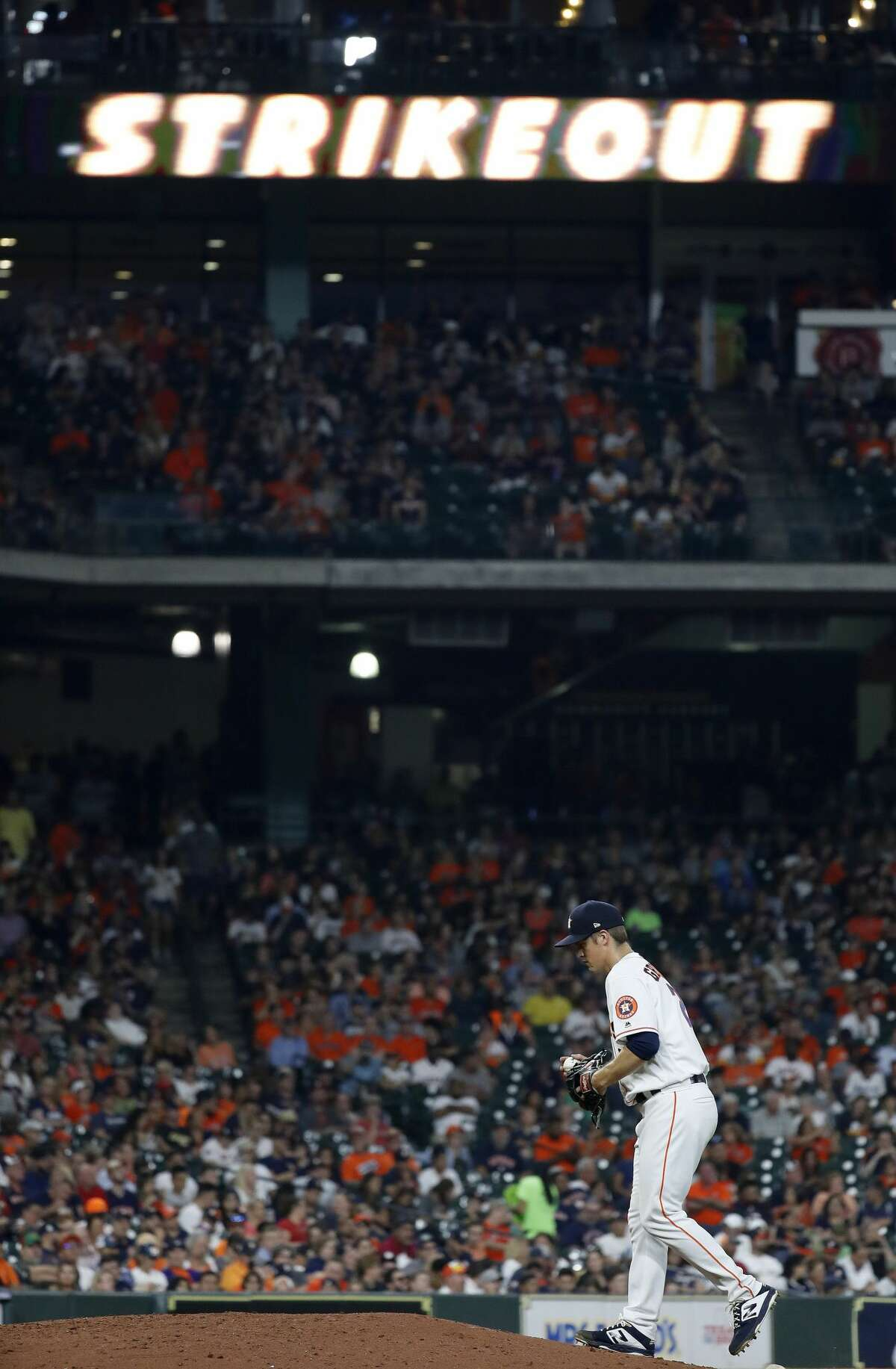 Houston Astros starting pitcher Zack Greinke (21) after striking out Oakland Athletics Franklin Barreto during the sixth inning of an MLB baseball game at Minute Maid Park, Monday, Sept. 9, 2019, in Houston.