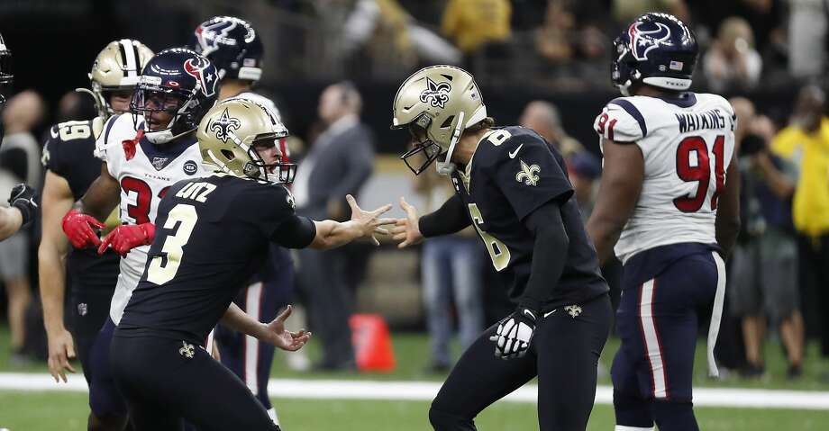 New Orleans Saints kicker Wil Lutz (3) celebrates his 58-yard field goal with holder Thomas Morstead (6) as time ran out to beat the Houston Texans 30-28 at the Mercedes-Benz Superdome on Monday, Sept. 9, 2019, in New Orleans. Photo: Brett Coomer/Staff Photographer