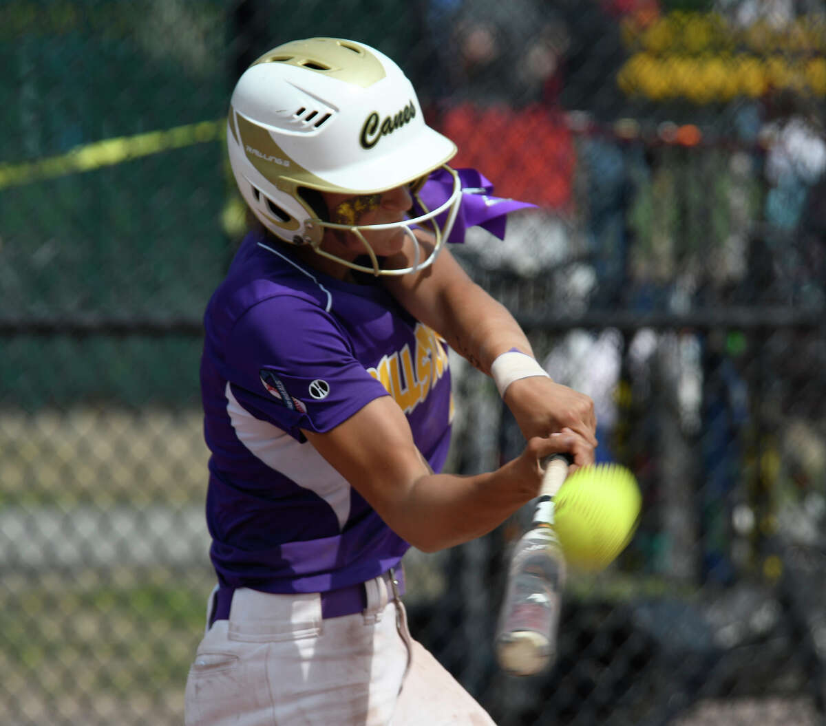 Ballston Spa's Ana Gold hits the ball during the Class AA final against Victor in Moreau, N.Y., on Saturday, Jun. 9, 2018. (Jenn March, Special to the Times Union)