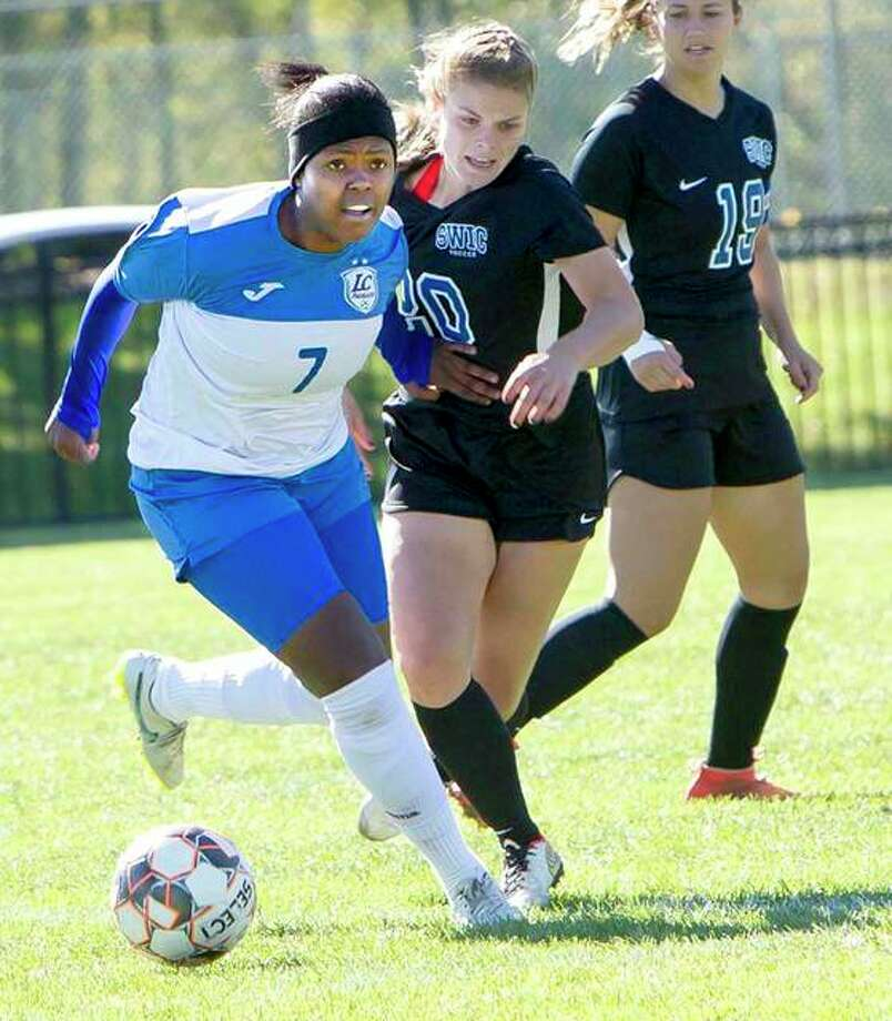 Midfielder Boitumelo Rabale of LCCC, left, scored a pair of goals in Monday's 6-0 win over Wabash Valley. Photo: Telegraph File Photo