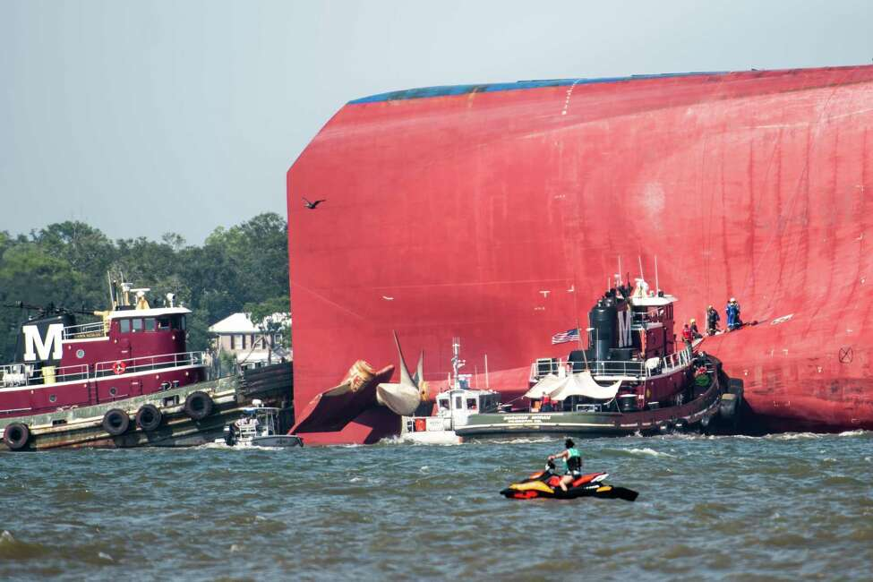 ST SIMONS ISLAND, GA - SEPTEMBER 09: Emergency responders work to rescue crew members from a capsized cargo ship on September 9, 2019 in St Simons Island, Georgia. A 656-foot vehicle carrier, the M/V Golden Ray, departed the Brunswick port on Sunday and suffered a fire on board, capsizing in St. Simons Sound. (Photo by Sean Rayford/Getty Images)