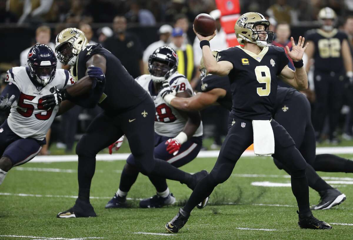 New Orleans Saints quarterback Drew Brees (9) passes against the Houston Texans during the third quarter of an NFL football game at the Mercedes-Benz Superdome on Monday, Sept. 9, 2019, in New Orleans.
