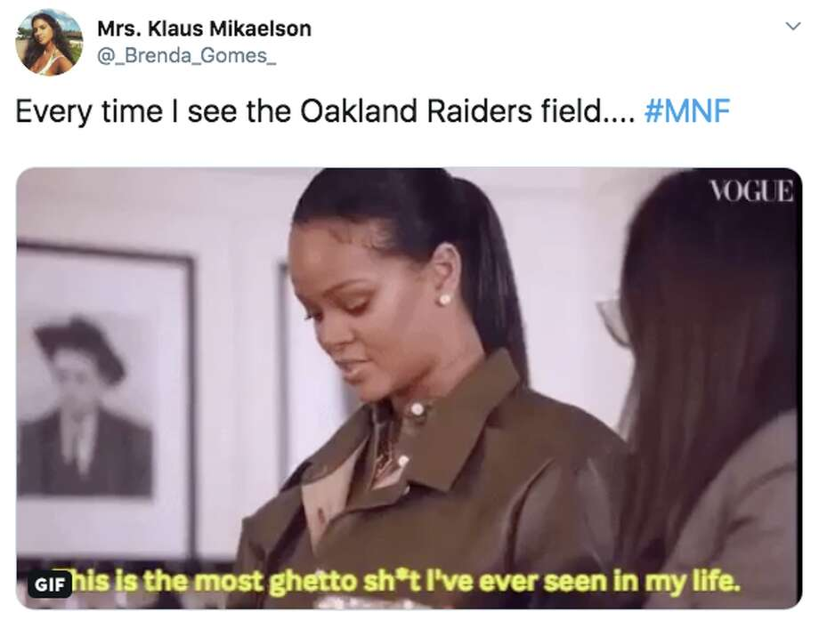 The Oakland Raiders got roasted by people watching their season opening Monday Night Football game against the Denver Broncos because the condition of the field they share with the Oakland Athletics. Photo: Screenshot Via Twitter