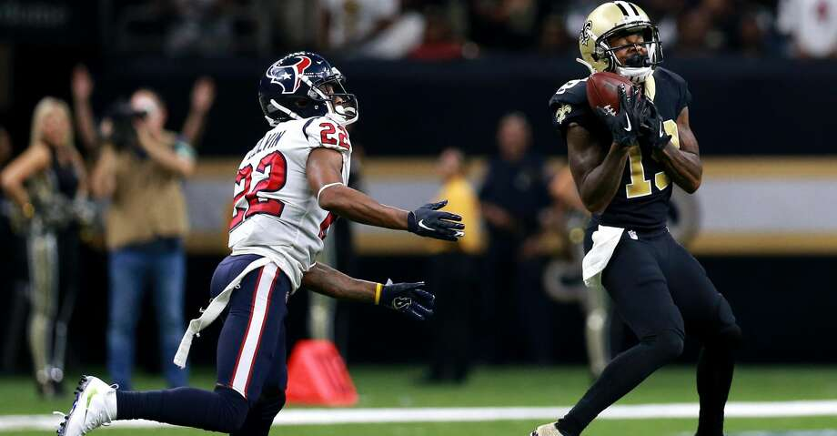 NEW ORLEANS, LOUISIANA - SEPTEMBER 09:  Michael Thomas #13 of the New Orleans Saints catches a pass over Aaron Colvin #22 of the Houston Texans during a NFL game at the Mercedes Benz Superdome on September 09, 2019 in New Orleans, Louisiana. (Photo by Sean Gardner/Getty Images) Photo: Sean Gardner/Getty Images
