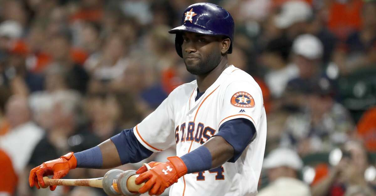 Houston Astros designated hitter Yordan Alvarez (44) waits in the on deck circle during the first inning of an MLB baseball game at Minute Maid Park, Monday, Sept. 9, 2019, in Houston.