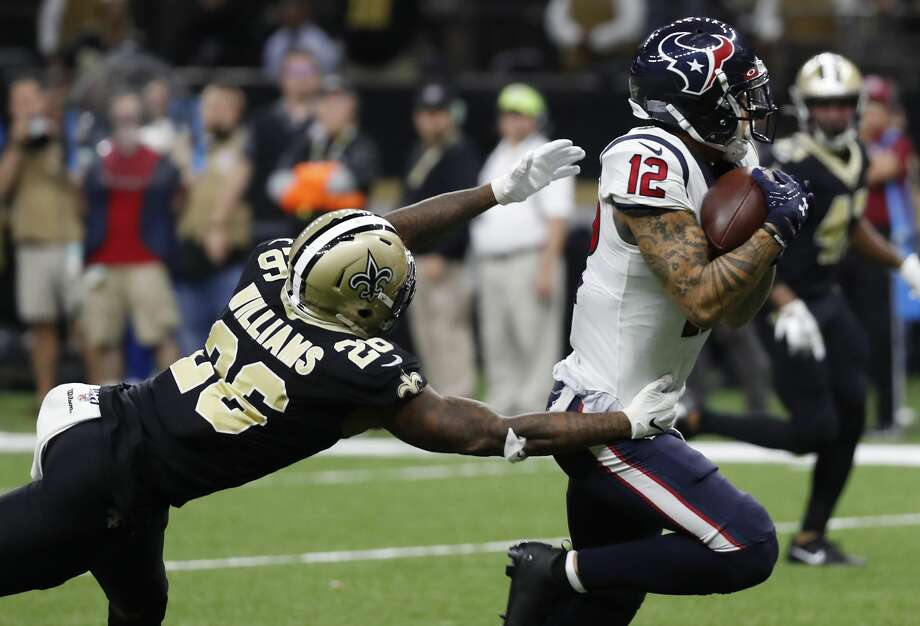 PHOTOS: Texans vs. Saints Houston Texans wide receiver Kenny Stills (12) beats New Orleans Saints cornerback P.J. Williams (26) for a 37-yard touchdown reception during the fourth quarter of an NFL  football game at the Mercedes-Benz Superdome on Monday, Sept. 9, 2019, in New Orleans. Photo: Brett Coomer/Staff Photographer