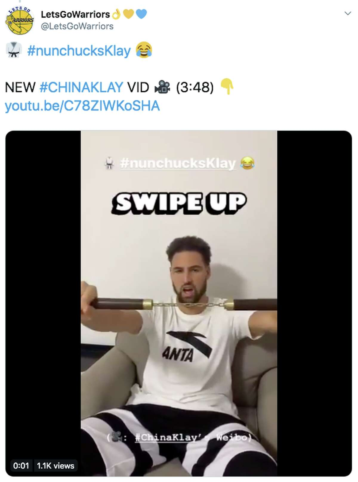 Golden State Warriors star Klay Thompson is in China to promote his new Anta shoes and, from the looks of it on social media, he's doing his level best to bring peak Klay to the country.
