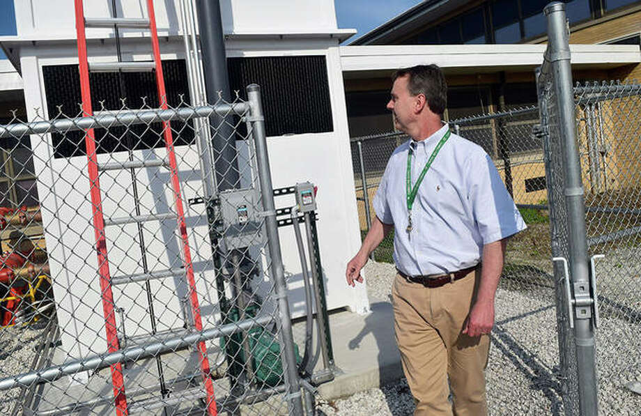 Carrollton schools Superintendent Mark Halwachs shows off renovations at Carrollton High School. The school finished renovations in late August that included new safety measures and air conditioning in every room. Photo: Marco Cartolano | Journal-Courier