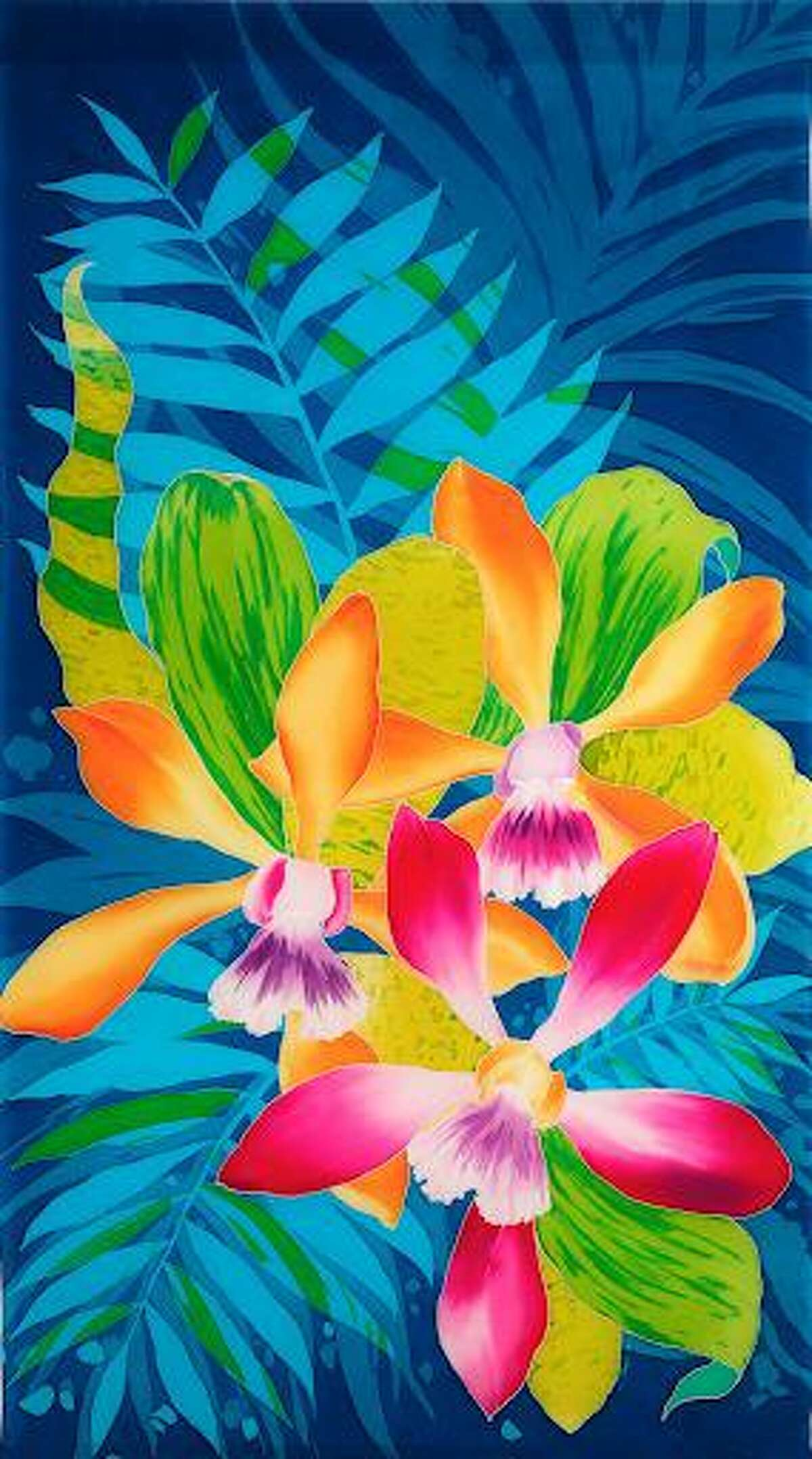 Orchids on Blue Fern by Sissi Siska is featured in Wilton Library's exhibition, Silk Painters International, on view now through Oct. 3.