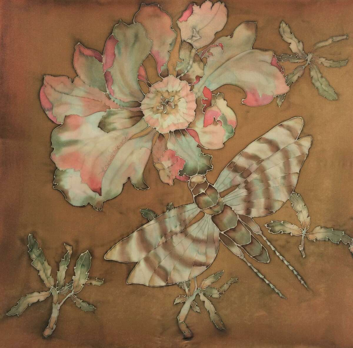 Moth to the Flame by Suzanne Punch is featured in Wilton Library's exhibition, Silk Painters International, on view now through Oct. 3.