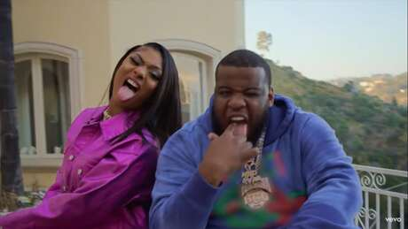 Megan Thee Stallion and Maxo Kream in 'She Live.'