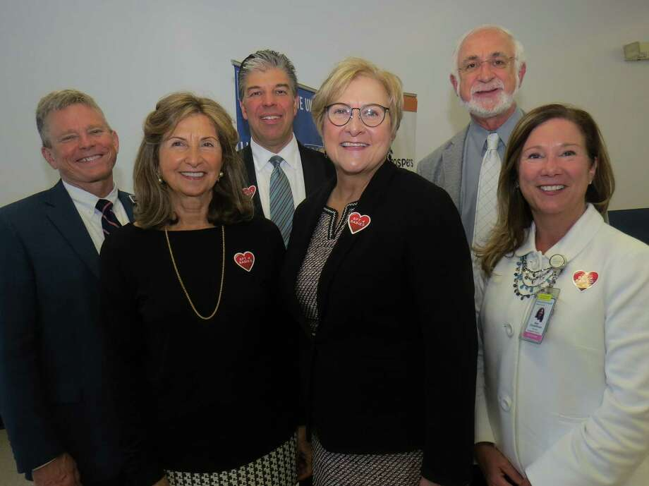 Dr. Michael Ivy, Bridgeport Hospital interim president and CEO; Simin Allison, whose family provided the major gift to support the Postnatal Wellness Check program; Steve Jakab, Bridgeport Hospital Foundation president; Susan Chudwick, Foundation director of development; Dr. Robert Stiller, hospital chief of Maternal-Fetal Medicine; and Mary Christoffersen, RN, hospital vice president of Nursing. Photo: Bridgeport Hospital / Contributed