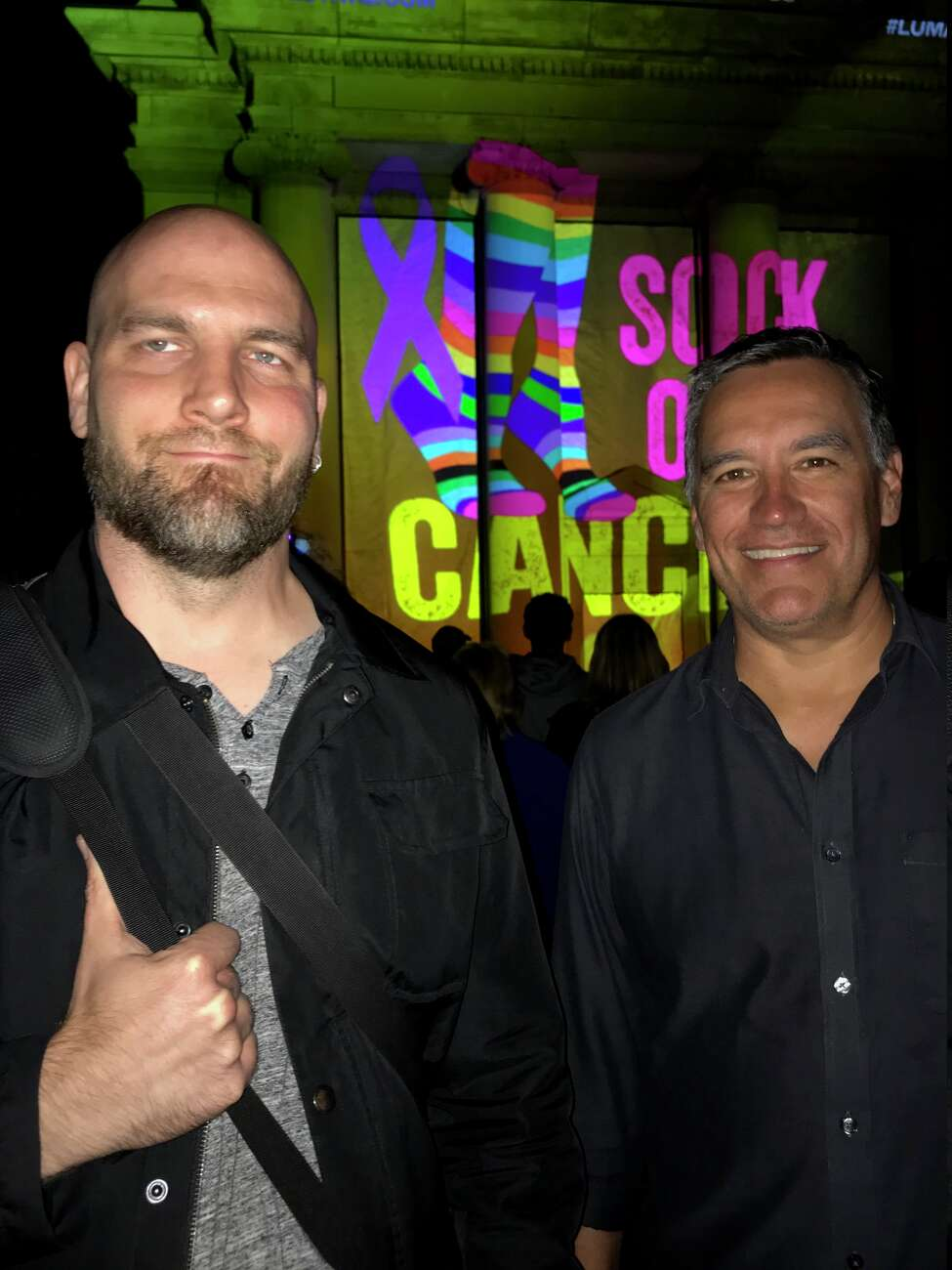 Josh Recene, left, and Dave Dimmick, of Favorite Color, created a projection mapping show