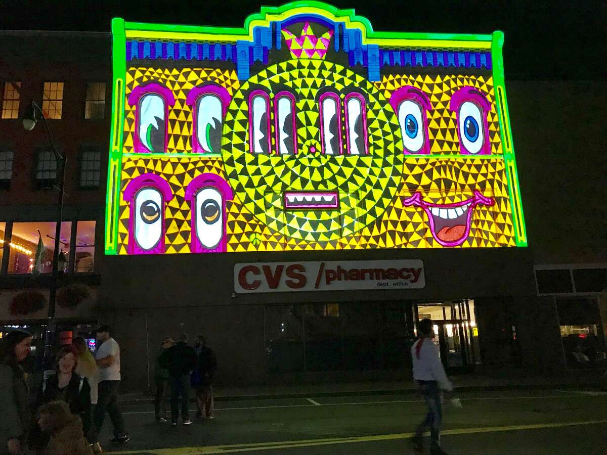 An example of one of the intense, dynamic projection mapping shows at the LUMA Festival Saturday night in Binghamton (Paul Grondahl / Times Union)