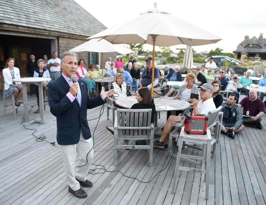 Republican candidate for First Selectman Fred Camillo speaks during the candidate forum featuring Republican Fred Camillo and Democrat Jill Oberlander at Greenwich Point Park's Sue Baker Pavilion in Old Greenwich, Conn. Monday, Sept. 9, 2019. Presented by the Greenwich Point Conservancy, both candidates spoke and took questions from the public mostly on environmental issues. Photo: Tyler Sizemore / Hearst Connecticut Media / Greenwich Time