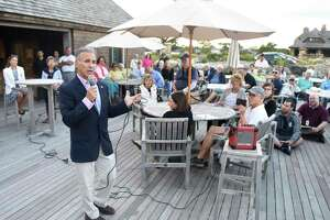 Republican candidate for First Selectman Fred Camillo speaks during the candidate forum featuring Republican Fred Camillo and Democrat Jill Oberlander at Greenwich Point Park's Sue Baker Pavilion in Old Greenwich, Conn. Monday, Sept. 9, 2019. Presented by the Greenwich Point Conservancy, both candidates spoke and took questions from the public mostly on environmental issues.