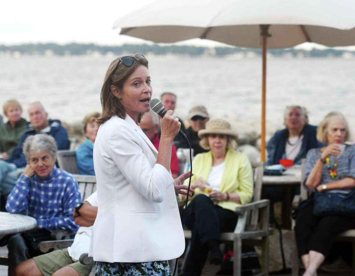 Democratic candidate for First Selectman Jill Oberlander speaks during the candidate forum featuring Republican Fred Camillo and Democrat Jill Oberlander at Greenwich Point Park's Sue Baker Pavilion in Old Greenwich, Conn. Monday, Sept. 9, 2019. Presented by the Greenwich Point Conservancy, both candidates spoke and took questions from the public mostly on environmental issues.