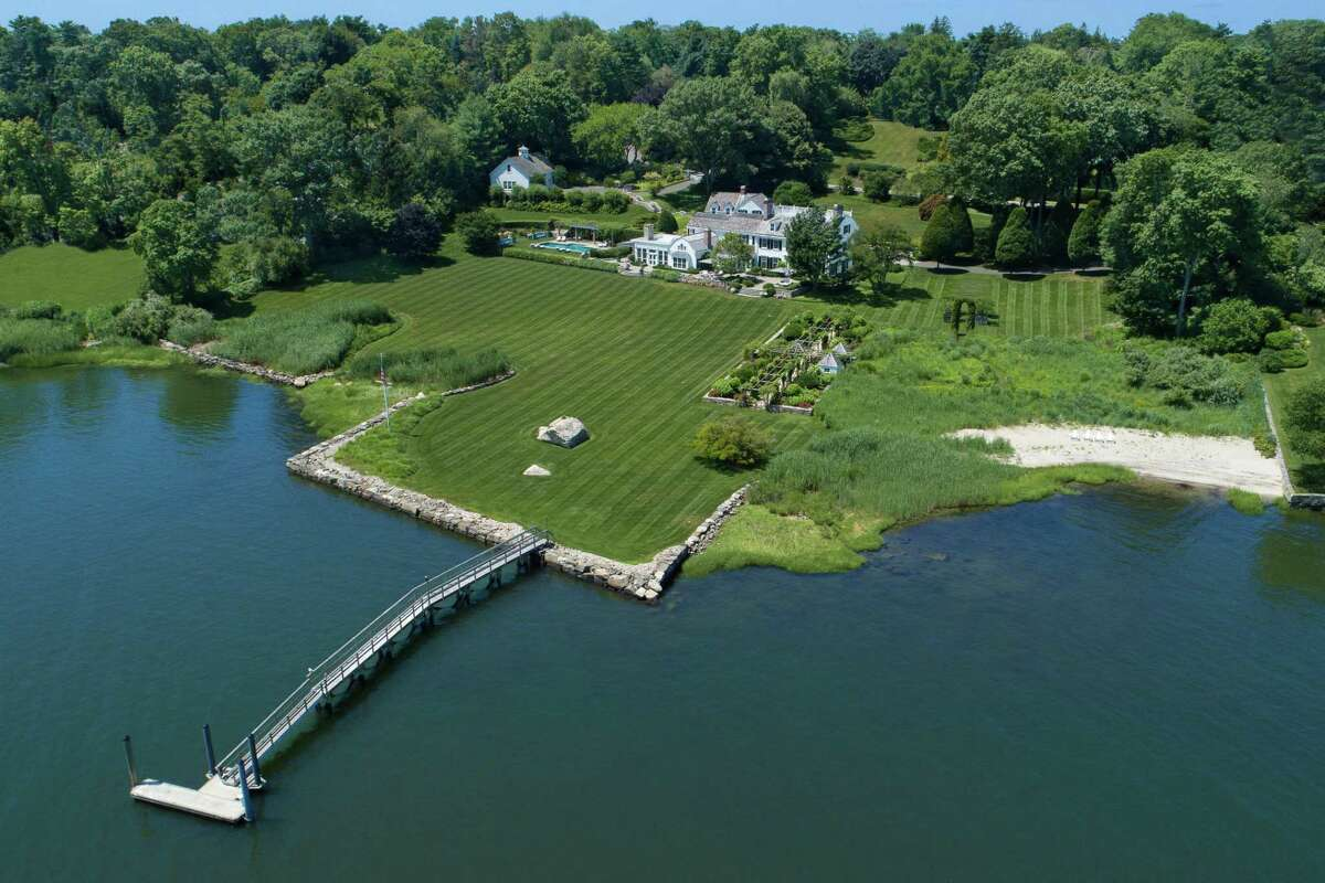 The Belle Haven beauty at 23 Smith Road presides over more than 5 acres of land, waterfront on Greenwich Harbor. The estate - the former home of Oliver Mead-is listed by Houlihan Lawrence for $39.5 million.