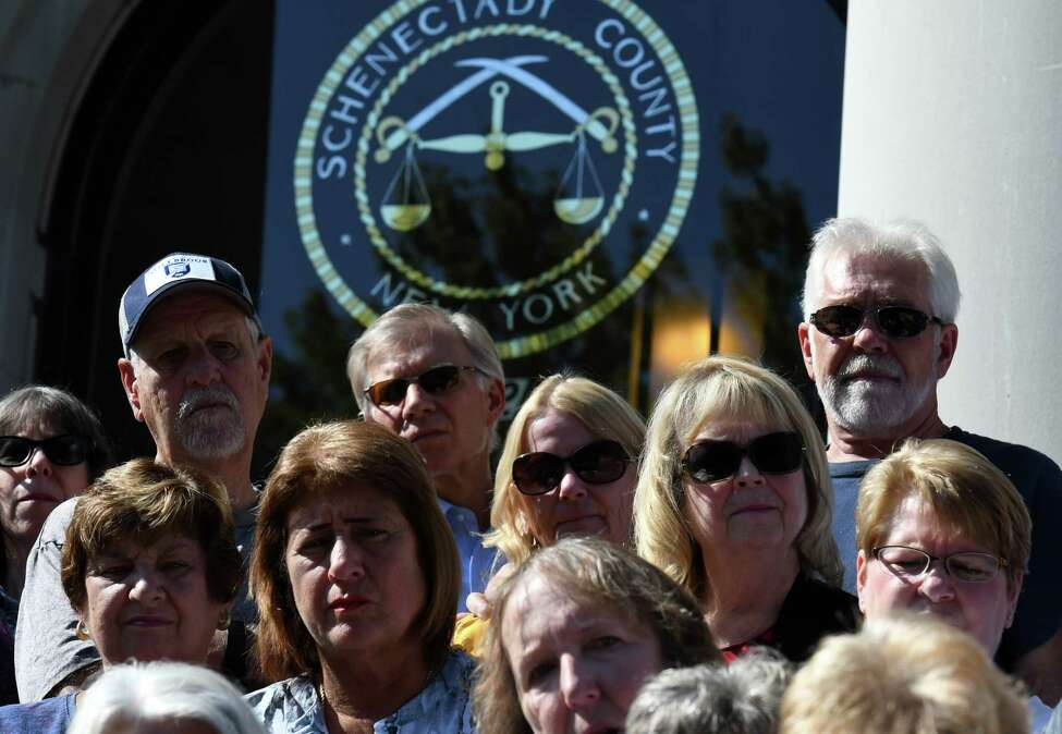 St. Clare's pensioners and family members attend a press conference after a lawsuit was filed on behalf of them against the Roman Catholic Diocese of Albany on Tuesday, Sept. 10, 2019, at the Schenectady County Judicial Building in Schenectady, N.Y. (Will Waldron/Times Union)