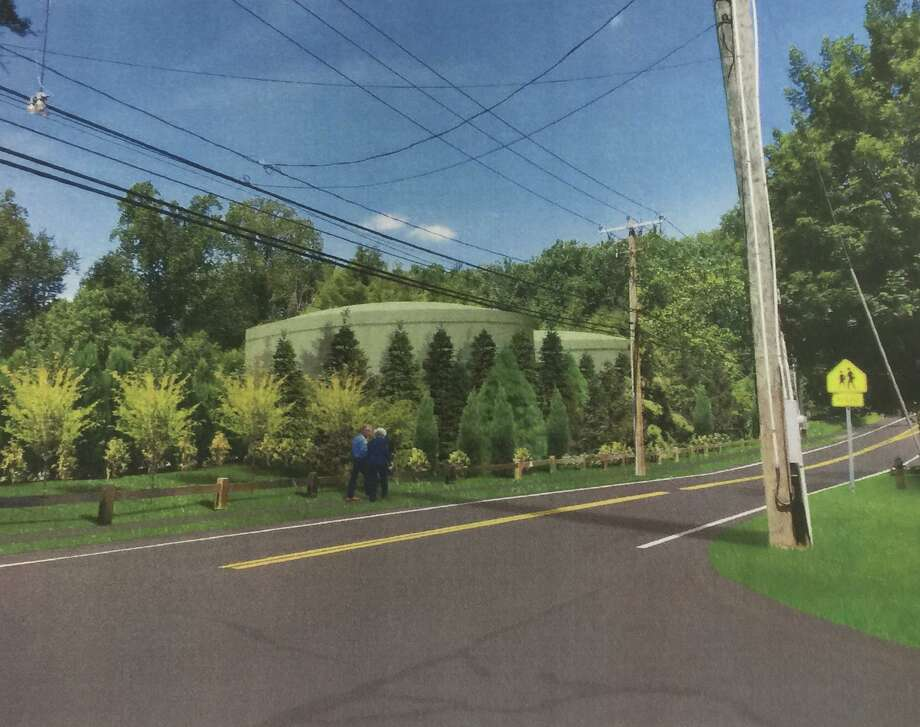 Picture, designed by AECOM, of the original proposed water tanks on North Ave. in Westport. Taken in 2017. Photo: Sophie Vaughan /Hearst Connecticut Media