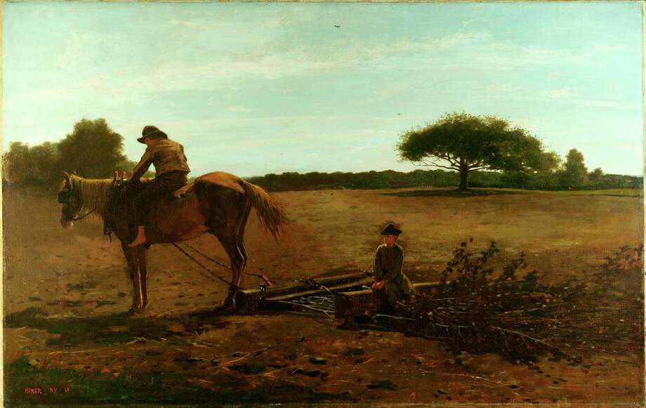 """Winslow Homer's 1865 painting """"The Brush Harrow"""" depicts a famous scene from the Civil War, showing barefoot boys doing the work of men. Photo: Winslow Homer/Harvard Art Museums/Fogg Museum / Winslow Homer/Harvard Art Museums/Fogg Museum"""
