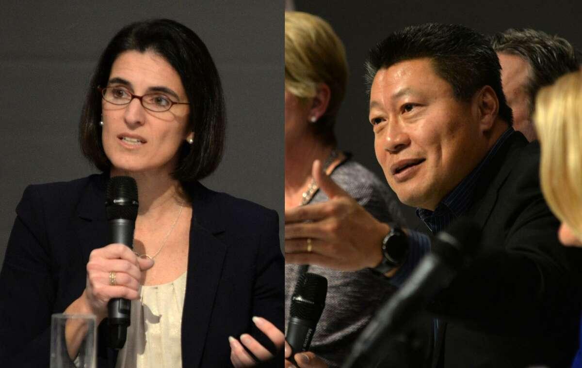 Cristin McCarthy Vahey (left) and Tony Hwang (right) will visit Sacred Heart University this fall.