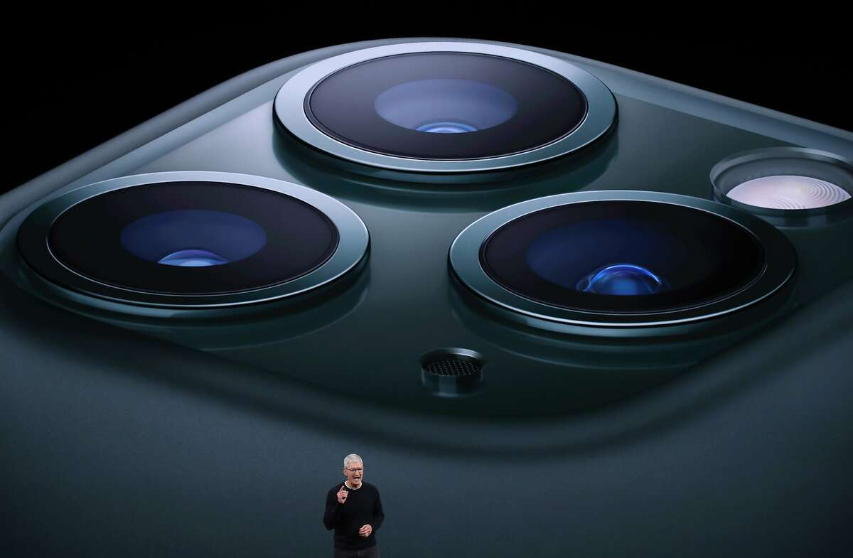 Apple CEO Tim Cook announces the new iPhone 11 Pro as he delivers the keynote address during a special event on September 10, 2019 in the Steve Jobs Theater on Apple's Cupertino, California campus. Apple unveiled new products during the event.