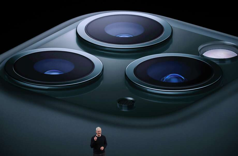 Apple CEO Tim Cook announces the new iPhone 11 Pro as he delivers the keynote address during a special event on September 10, 2019 in the Steve Jobs Theater on Apple's Cupertino, California campus. Apple unveiled new products during the event.  Photo: Justin Sullivan, Getty Images