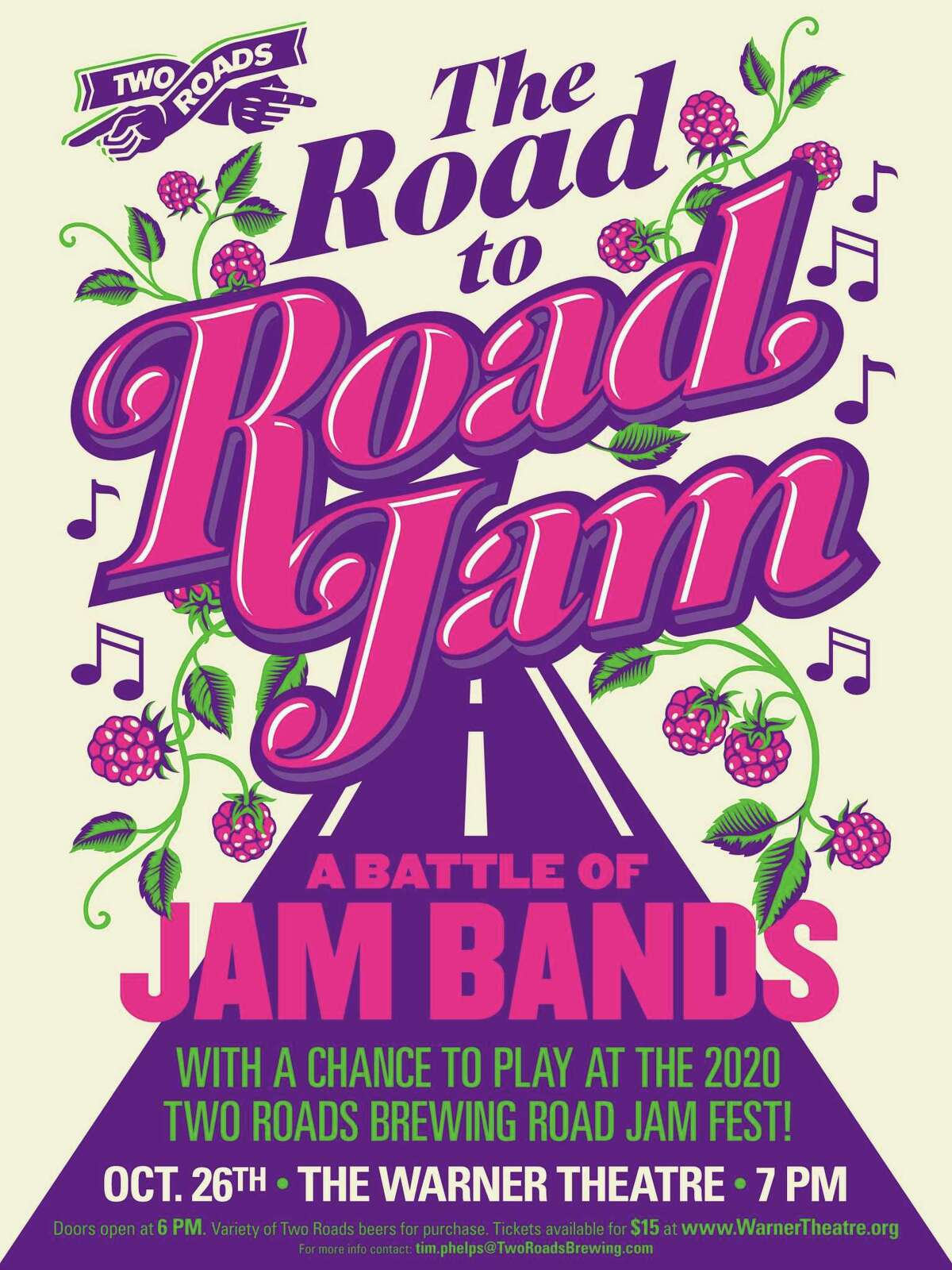The Warner Theatre is hosting Two Roads Brewery's annual Band Jam on Saturday.
