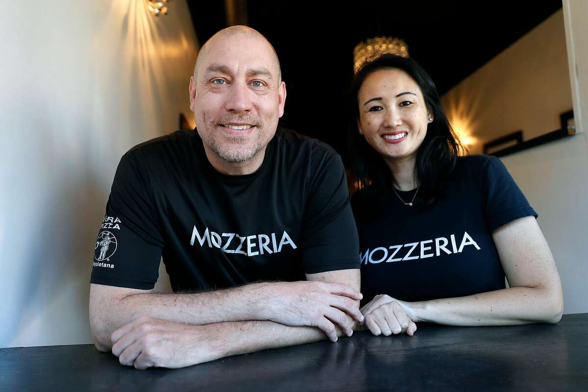 Mozzeria owners Russell and Melody Stein at their pizza restaurant in San Francisco, Calif., on Sunday, September 8, 2019.